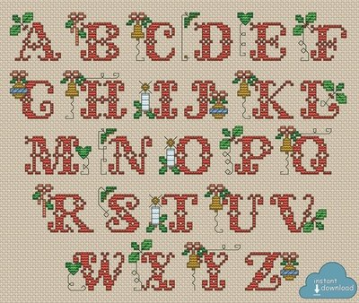 Christmas Alphabet Monogram Cross Stitch Pattern PDF + XSD. Traditional ABC Cross Stitch Chart PDF. Instant Download