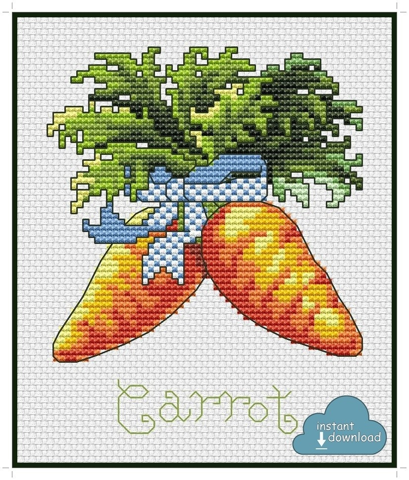 Carrot Cross Stitch Pattern PDF + XSD. Instant Download.