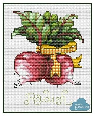 Radish Cross Stitch Pattern PDF + XSD. Instant Download.