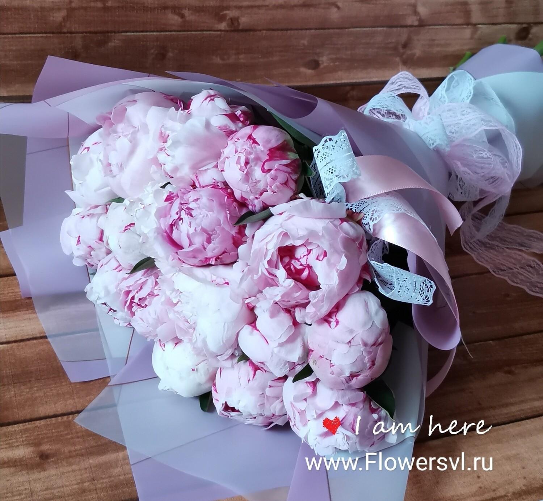 17 розовых пионов