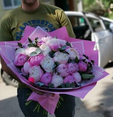 35 белых и розовых пионов