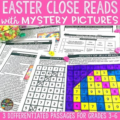 Easter Close Reading Comprehension Passages w/ Mystery Picture Activity