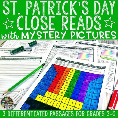 St. Patrick's Day Close Reading Comprehension w/ Mystery Picture Activity