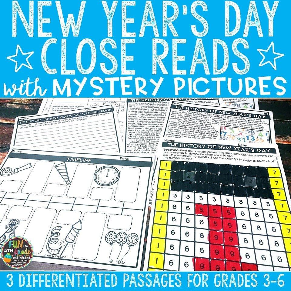 New Year's Day Close Reading Comprehension w/ Mystery Picture Activity