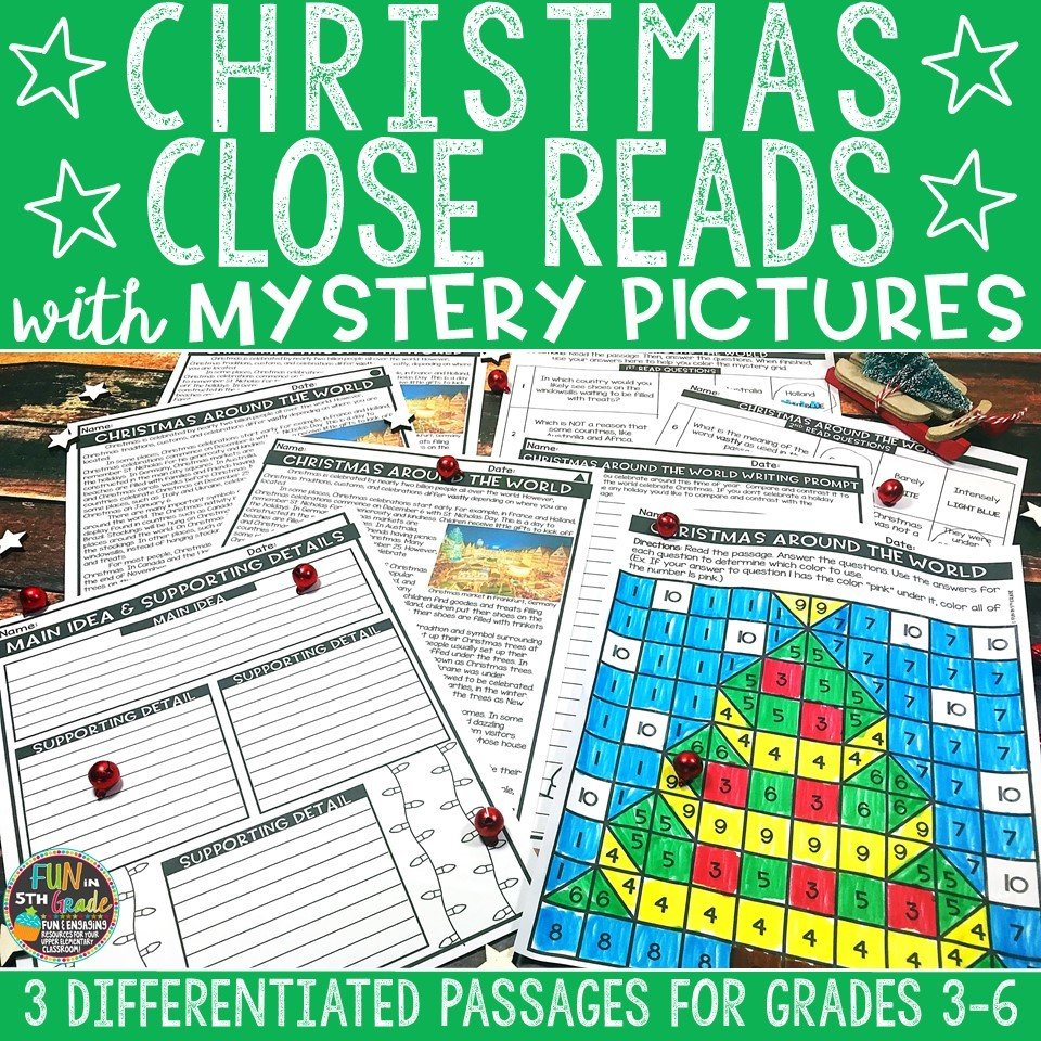 Christmas Close Reading Comprehension w/ Mystery Picture Activity