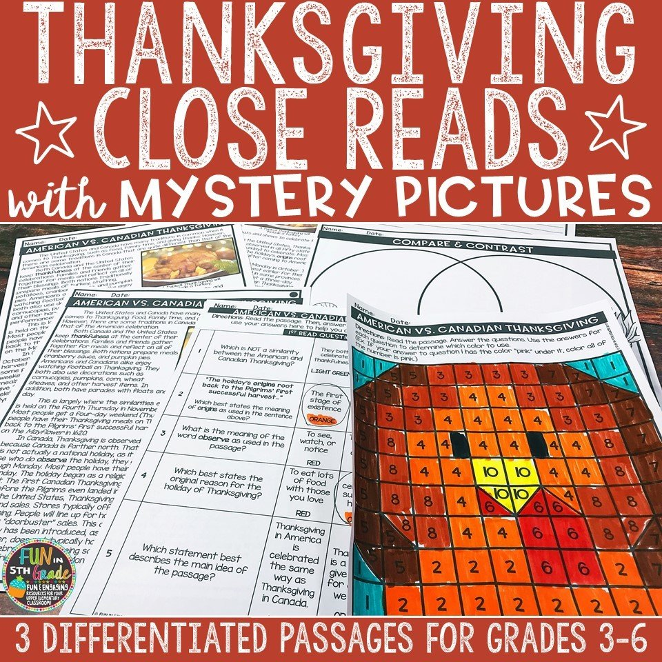 Thanksgiving Close Reading Comprehension w/ Mystery Picture Activity