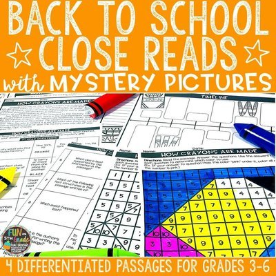Back to School Close Reading Comprehension Passages w/ Mystery Picture Activity