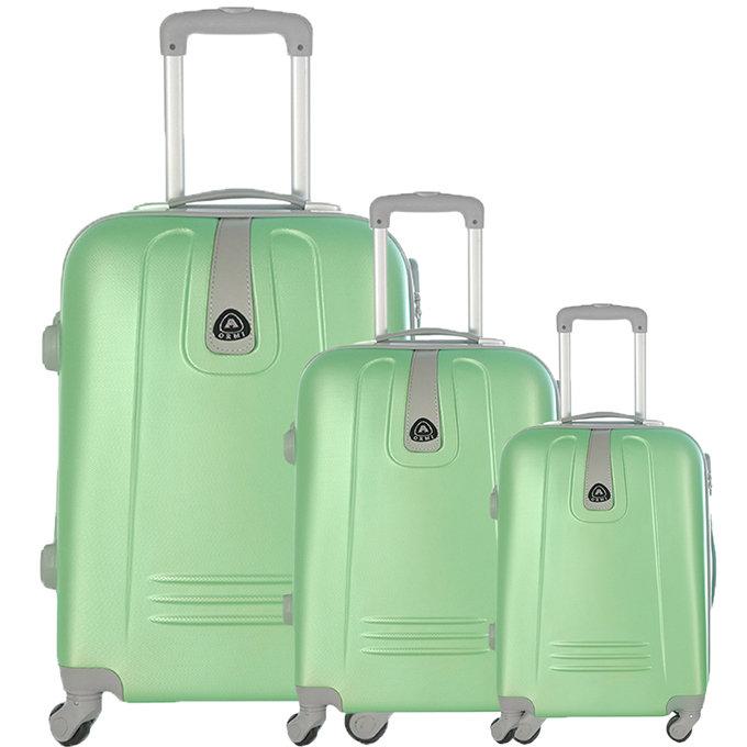 Set 3 valigie in abs leggero c/4 ruote verde