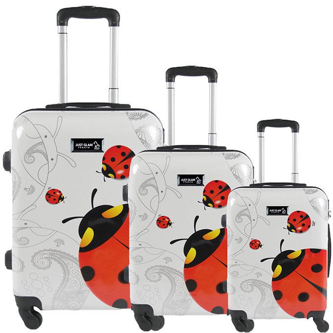 Set 3 valigie in abs leggero c/4 ruote fantasia coccinella