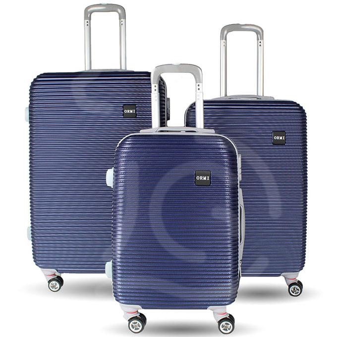 Set 3 valigie in abs leggero c/4 ruote blu