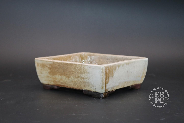 SOLD - Englert Keramik - 15.5cm; Rectangle; Wood-fired; Rustic; White; Cream; Browns; Martin Englert