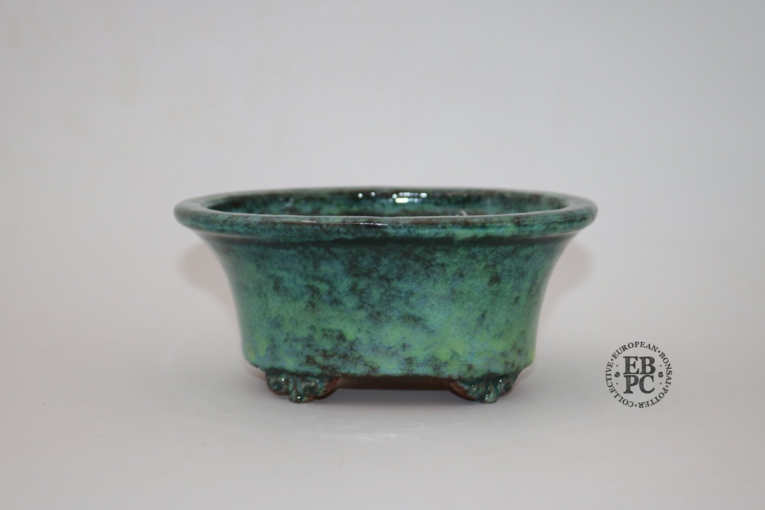 SOLD - SHUHU of Tokoname -  EBPC stamped; 15.5cm; Deep Shohin Oval; Stunning Glaze; Greens & Blues; 'Honorary European'; Limited Edn; Signed and EBPC Stamped.