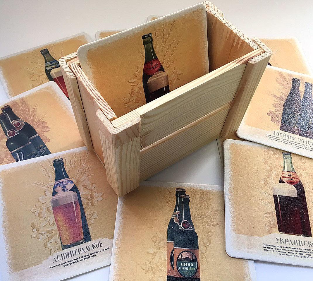 """Бирдекели """"Пиво СССР"""", 12 шт., деревянная подставка"""