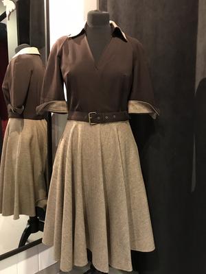 Bruine tweed jurk