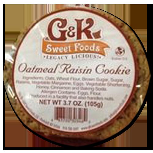 Box of half a dozen 3.7oz Oatmeal Raisin Cookies