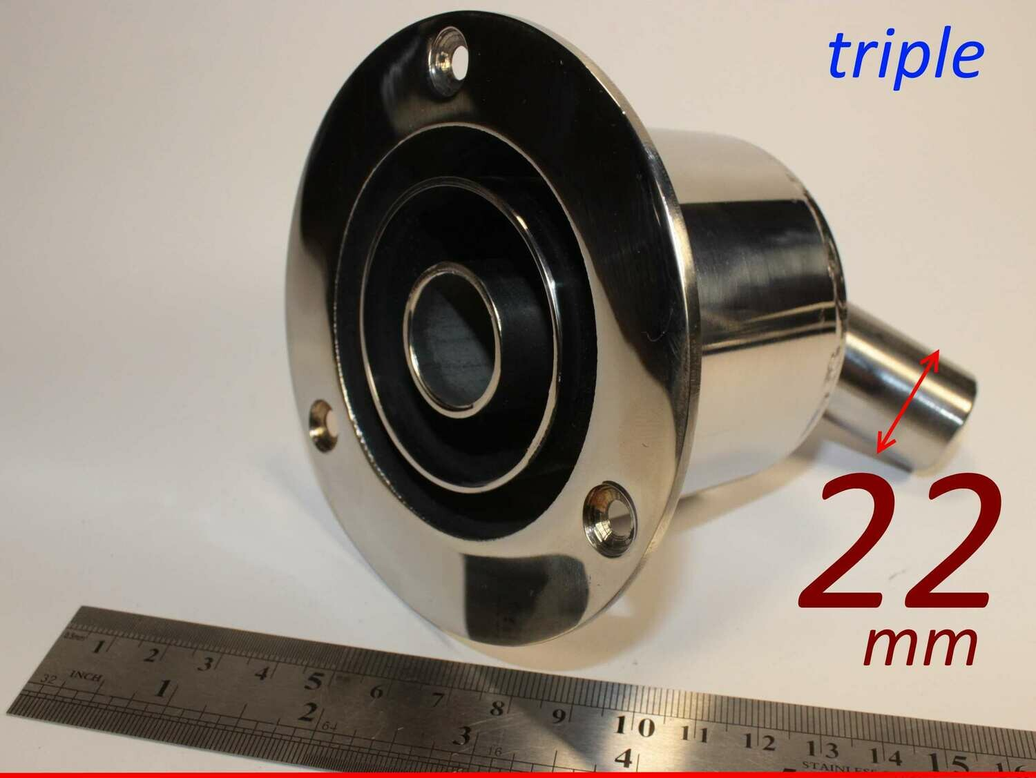 Triple exhaust thru hull outlet / skin fitting 22mm (marine stainless steel)