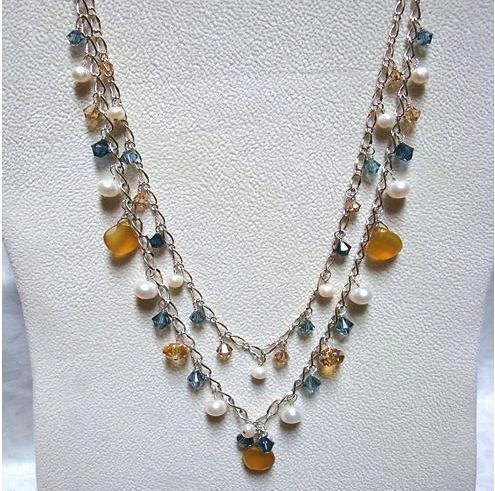 Tuscan Sunrise Sterling Necklace *2 strand