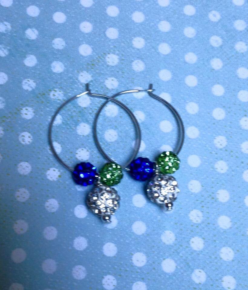 Hawks Glitz Hoop Earrings