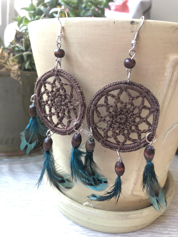 Crochet Dreamcatcher Earrings