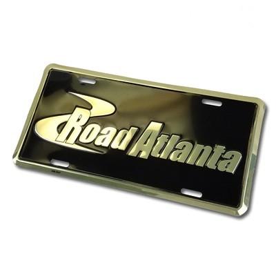 Road Atlanta Metal Car Tag- Black/Gold