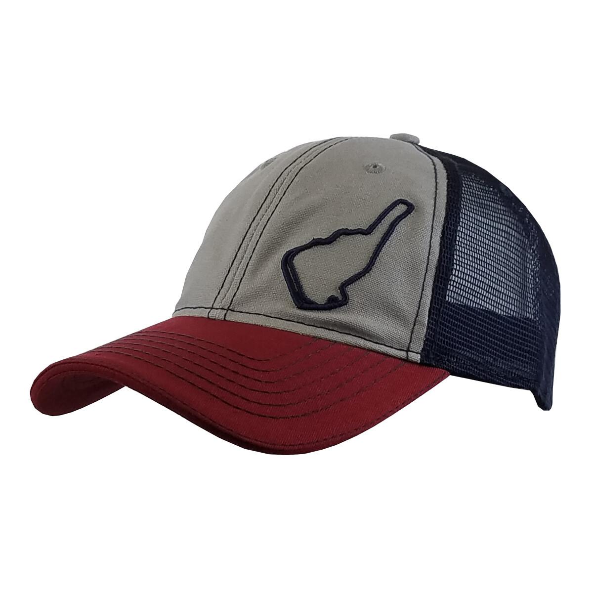 Michelin Raceway Road Atlanta Trucker Mesh Hat-Track Outline-Grey/Navy/Wine