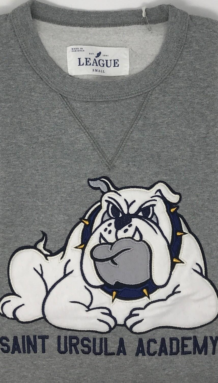 Crew Neck - Grey - Applique' Bulldog