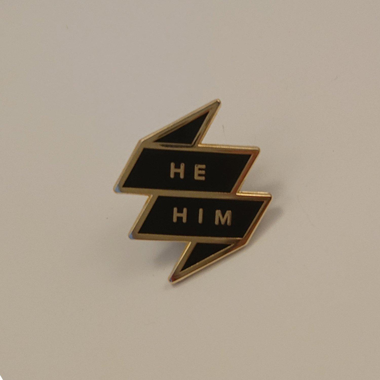 Pronoun Badge - He/Him Black
