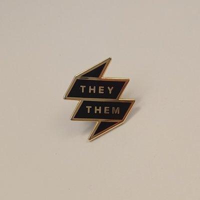 Pronoun Badge - They/Them Black