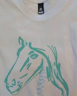 Show Ponies T-shirt - White and Teal - Medium