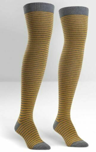 Mustard/Heather Striped Women's Over The Knee Socks