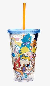 Nickelodeon Characters Cup With Straw And Ice Cubes