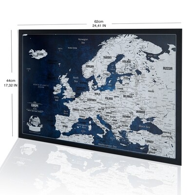 Original Birthday Gift for Friend - NEW Framed Europe Push Pin Map, Map for Travelers, Push Pin Europe Map with Frame - Best Gift for Friend