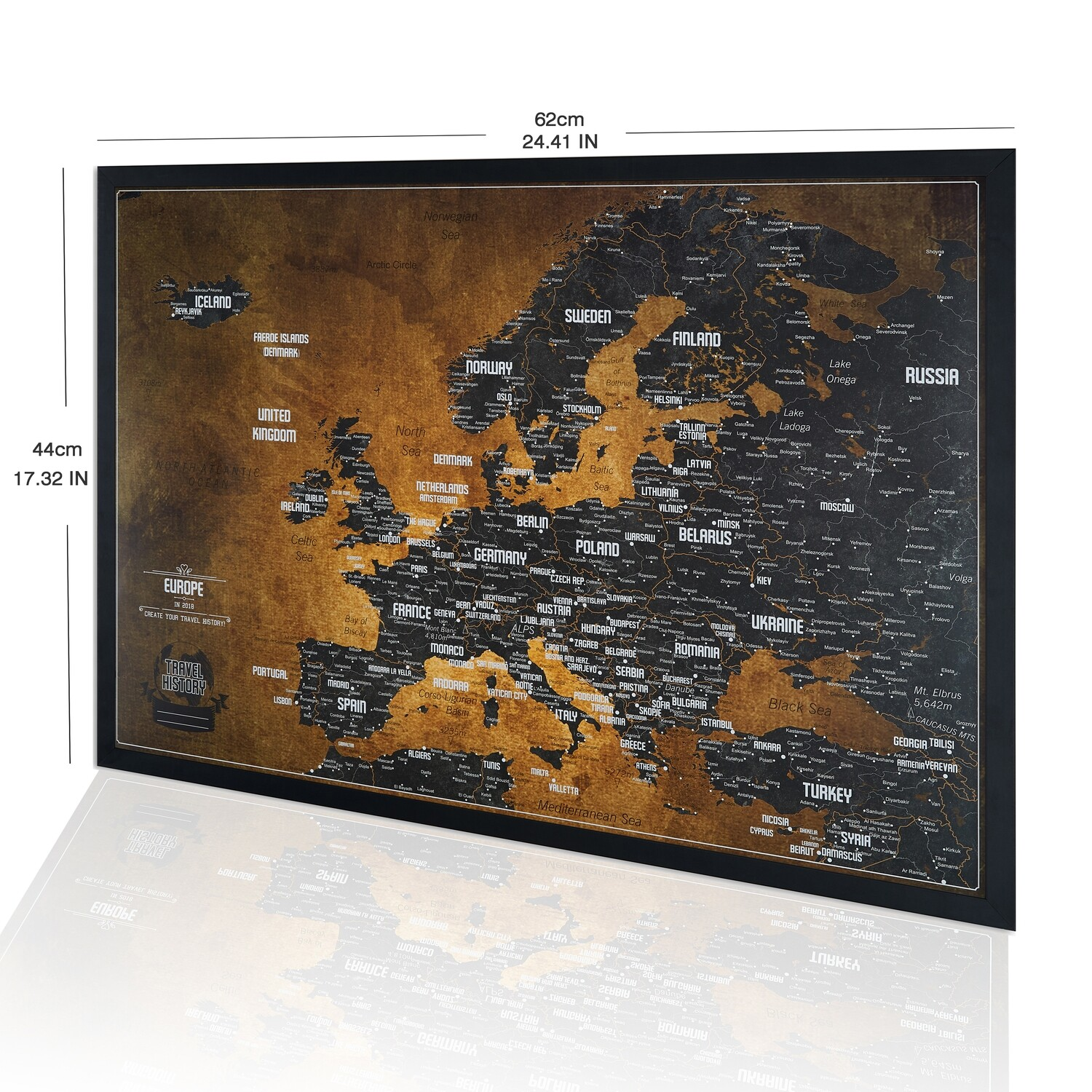 Europe Map Push Pin - Europe Map Wall Art - Includes 600 Biggest Cities - Explore Europe Map with Pins ready to hang - Push Pin Travel Map