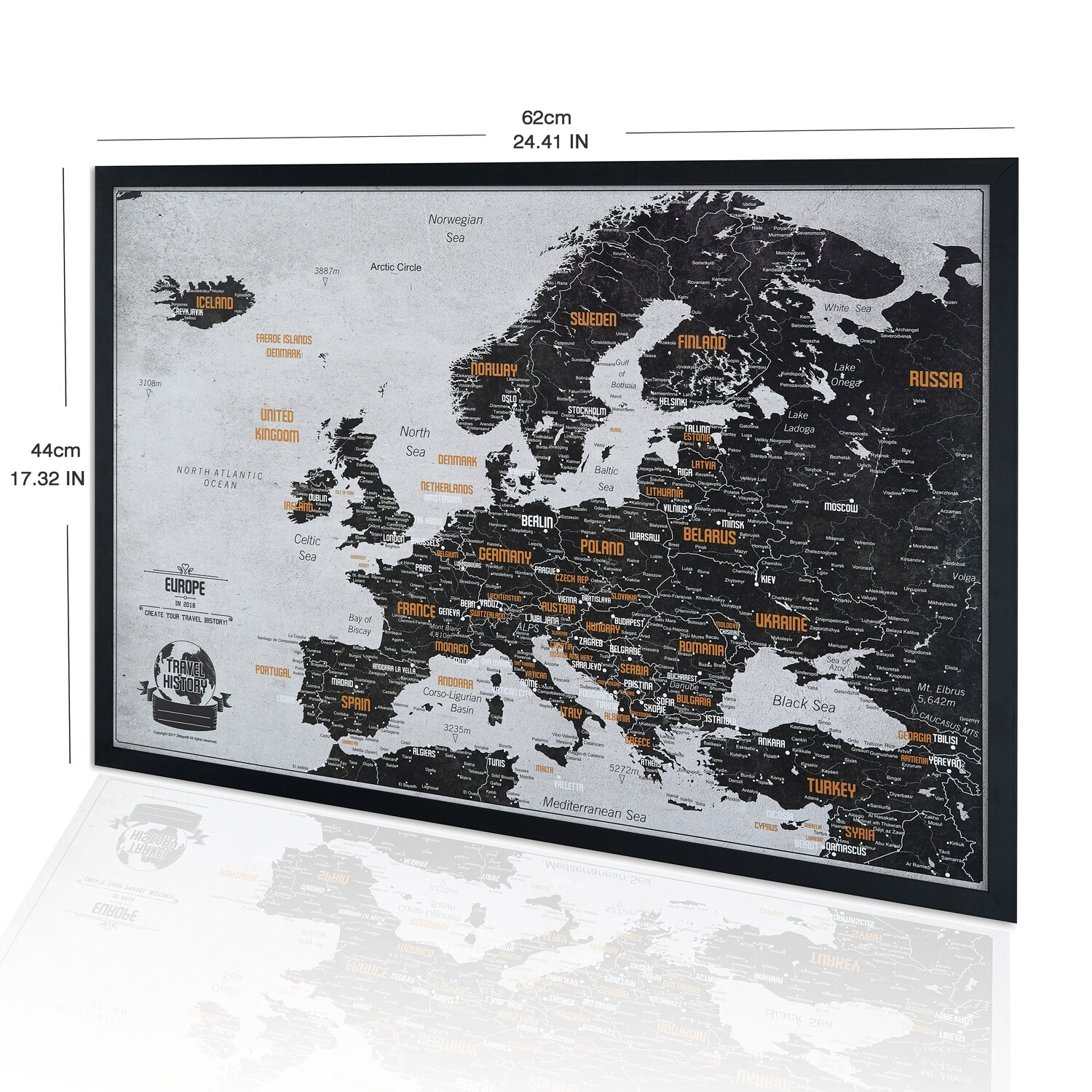 Black and White Push Pin Europe Map - Personalized Gift for Friend - Original Custom Travel Map - Framed Push Pin Map - Europe Map Push Pin with Frame