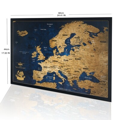 Push Pin Travel Europe Map - Personalized Gift for Travelers - Modern Vintage Look Push Pin Map - Europe Map Push Pin Original Wall Art
