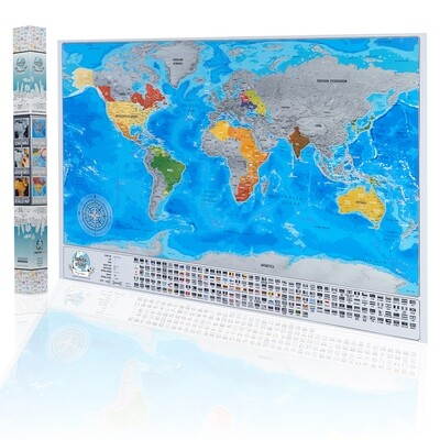 Detailed Scratch Off World Map with Flags, Original Silver Colors Surface Design, Travel Map with Gift Packaging, Scratch Off World Map Poster - 84 x 57cm,  Available Map with Frame
