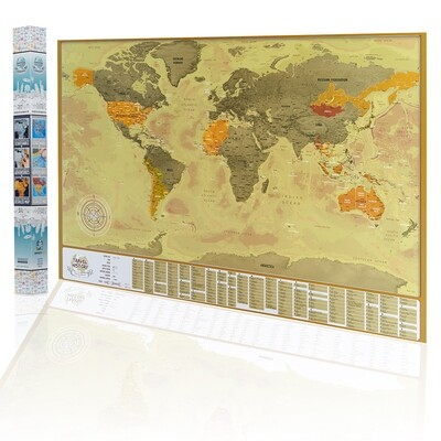 Original Gift for Friend - Scratch Off World Map with Flags - Scratch Your Travels - New Scratch off Map, Personalized Gift for Him, Best Gift for Friend, Available Map with Frame