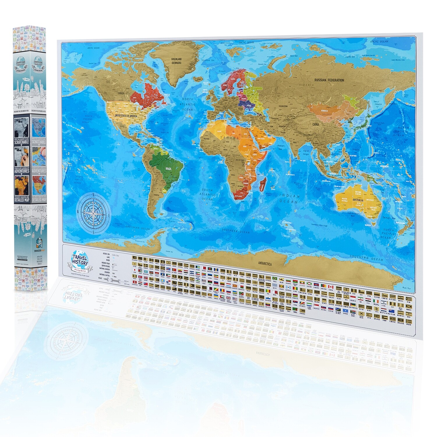 Best Birthday Gift for Friends - Personalized Weddings Gift - NEW Scratch off World Map - Adventure Map with Flags - XXL Scratch Travel Map, Available Map with Frame
