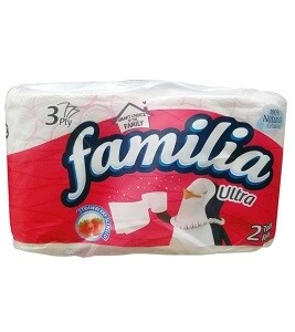 FAMILIA ULTRA 3PLY 2 TOILET ROLLS STRAWBERRY SCENTED