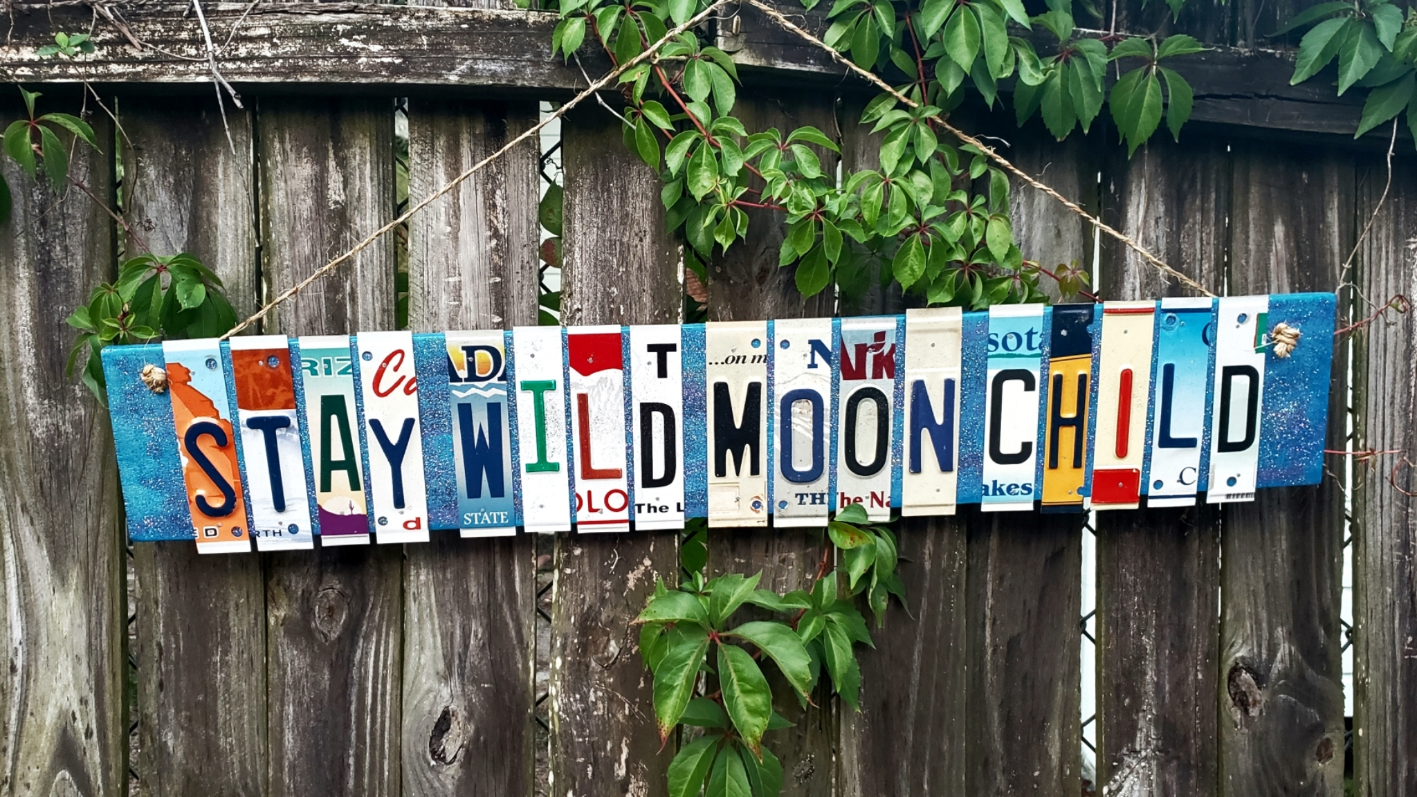 Stay Wild Moon Child License Plate Sign 00136