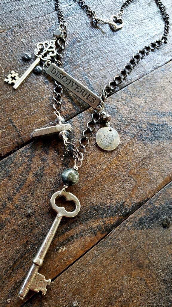 Discover Vintage Key Silver Aura Quartz Adventurer Necklace