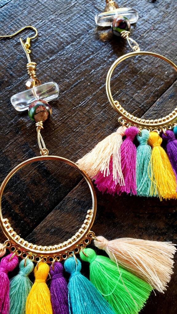 Rainbow Tassel Clear Aura Quartz Earrings