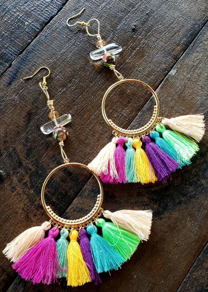 Rainbow Tassel Clear Aura Quartz Earrings 00287