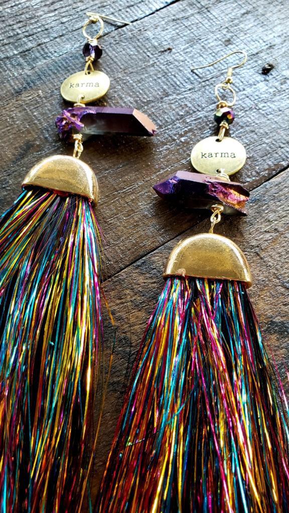 Fun Funky Rainbow Tassel Karma Earrings