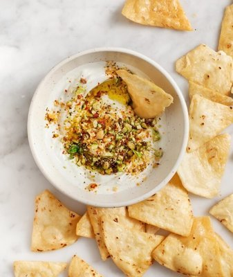 Toasted pitta and dukkah with olive oil