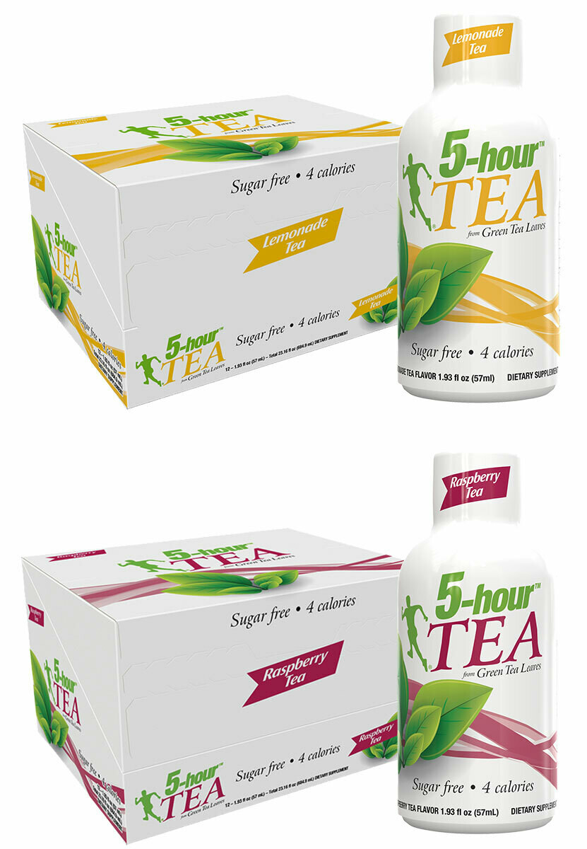 5-hour™ TEA Shots - Lemonade Tea & Raspberry Tea Flavors 24-pack (12 ea.)