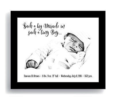 """Miracle"" Boy—Customized Newborn Keepsake FRAMED"