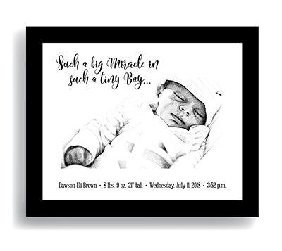 """Miracle"" Boy—Customized Newborn Keepsake DIGITAL DOWNLOAD ONLY (Shown framed)"