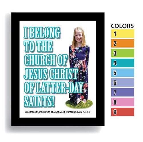 """I Belong"" Girl—Customized Baptism Keepsake FRAMED"