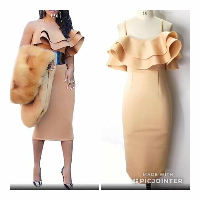 Nude Ruffled Dress